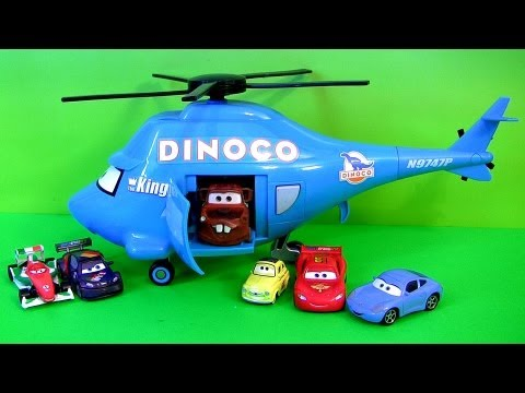 Thumbnail: Disney Pixar Cars Talking Dinoco Helicopter Transporter ~ Rotor Turbosky The King with Mater