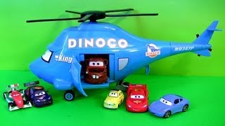 Pixar Cars Talking Dinoco Helicopter Transporter Mater Disney Rotor Turbosky The King by FunToys