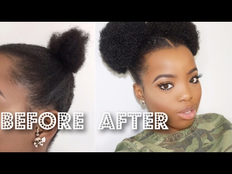 THE MOST REALISTIC FAKE AFRO PUFF YOU'VE EVER SEEN || SHORT NATURAL 4C HAIR