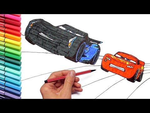 Drawing and Coloring Cars 3 Lightning McQueen Speed Race - Color Pages for Childrens