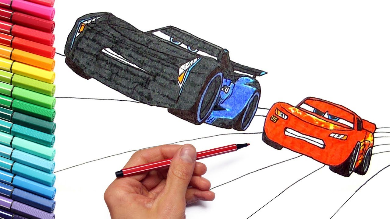 Drawing and Coloring Cars 3 Lightning