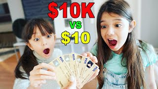 $10 VS $10,000 DON'T PICK THE WRONG MONEY CARD CHALLENGE! | Emily and Evelyn