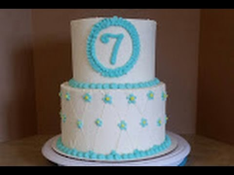 2 Tier Birthday Cake Cake Decorating Youtube