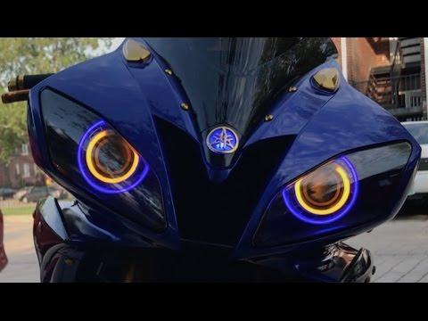 07 Custom Yamaha Blue/Carbon Fiber R6 featuring a Toce Razor Tip 3/4 Cat Delete Exhaust System