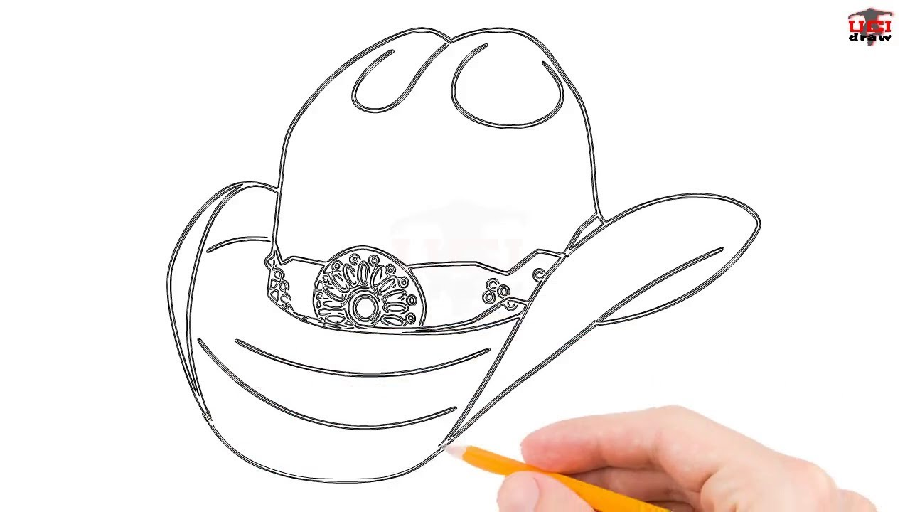 How To Draw A Cowboy Hat Step By Step Easy For Beginners Simple