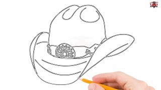 How to Draw a Cowboy Hat Step by Step Easy for Beginners – Simple Hats Drawing Tutorial