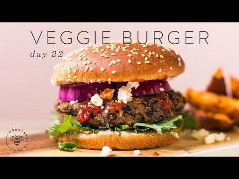 Healthy Black Bean Veggie BURGERS  DAY 22 | HONEYSUCKLE