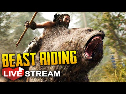 Far Cry Primal Gameplay: BEAST RIDING, Saber-tooth Tiger, Cave Bear & Mammoth!! | Live Stream Part 3