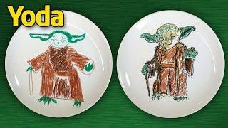 Как нарисовать Йоду (Yoda). Star Wars на тарелке.