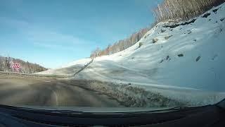 Спуск по серпантину Белокуриха-2 зимой