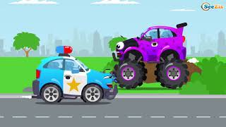 Download Tubidy ioWheelcity   Police Car   Monster Truck   Car Vehicles New Cartoon   Kids Video Compilation