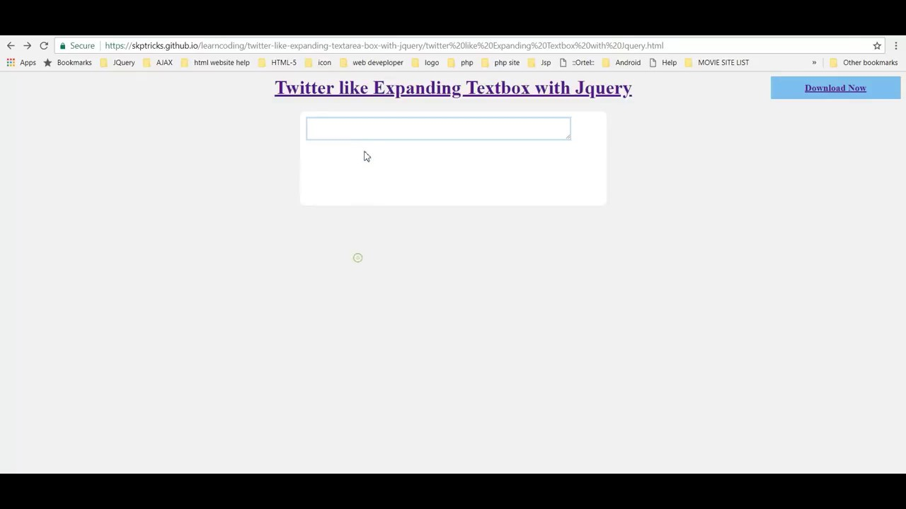 Twitter like Expanding Textarea box with Jquery | SKPTRICKS