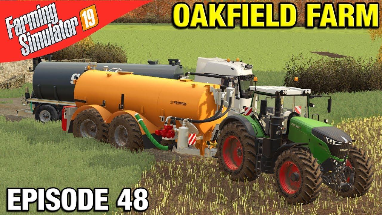 SLURRY SPREADING Farming Simulator 19 Timelapse - Oakfield Farm Seasons  FS19 Episode 48
