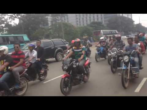 bangladesh nationalist party bnp procession with about 200 bikes in dhaka