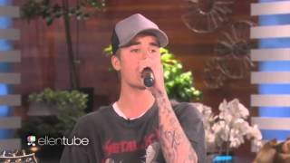 "Justin Bieber singing ""Sorry"" acoustic @ Ellen DeGeneres Show 