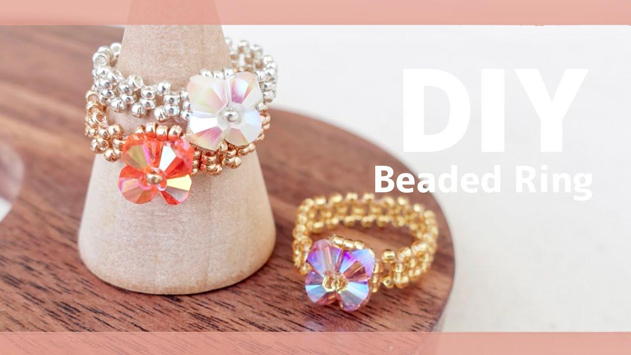 DIY Easy Beaded Ring tutorial 💠スワロフスキーの簡単ビーズリング 作り方♪ |Swarovski| How to make | ビーズアクセサリー|