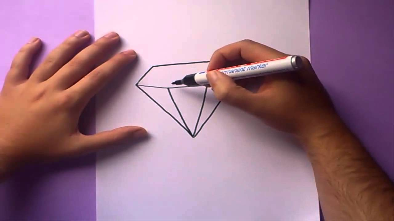 Como Dibujar Un Diamante Paso A Paso How To Draw A Diamond Youtube