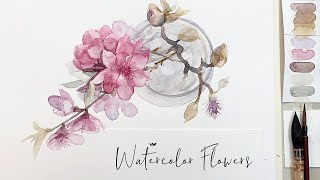 Painting Spring Blossom Branches with watercolor