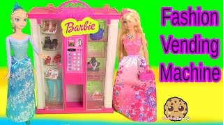 Barbie Fashion Vending Machine Playset With Disney Frozen Queen Elsa Dolls - Toy Unboxing Video