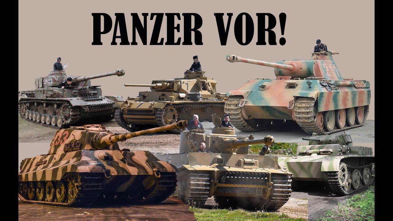Panzer II, III, IV, V (Panther), VI (Tiger) driving ...