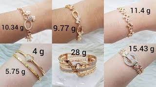 Latest Light Weight Gold Bracelet Designs with Weight