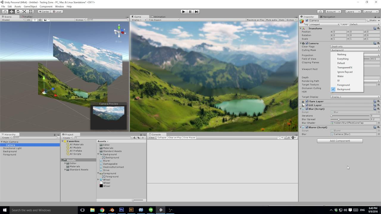 Unity - How to dynamically blur background images