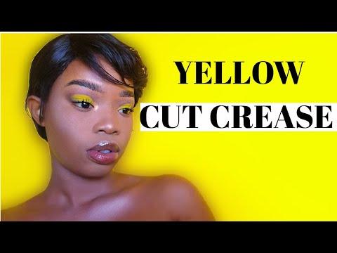 stepstep yellow cut crease makeup tutorial/ south