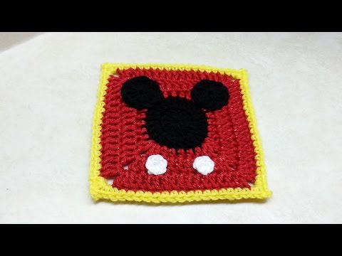Crochet Mickey Mouse Granny Square TUTORIAL #160 Bagoday Crochet