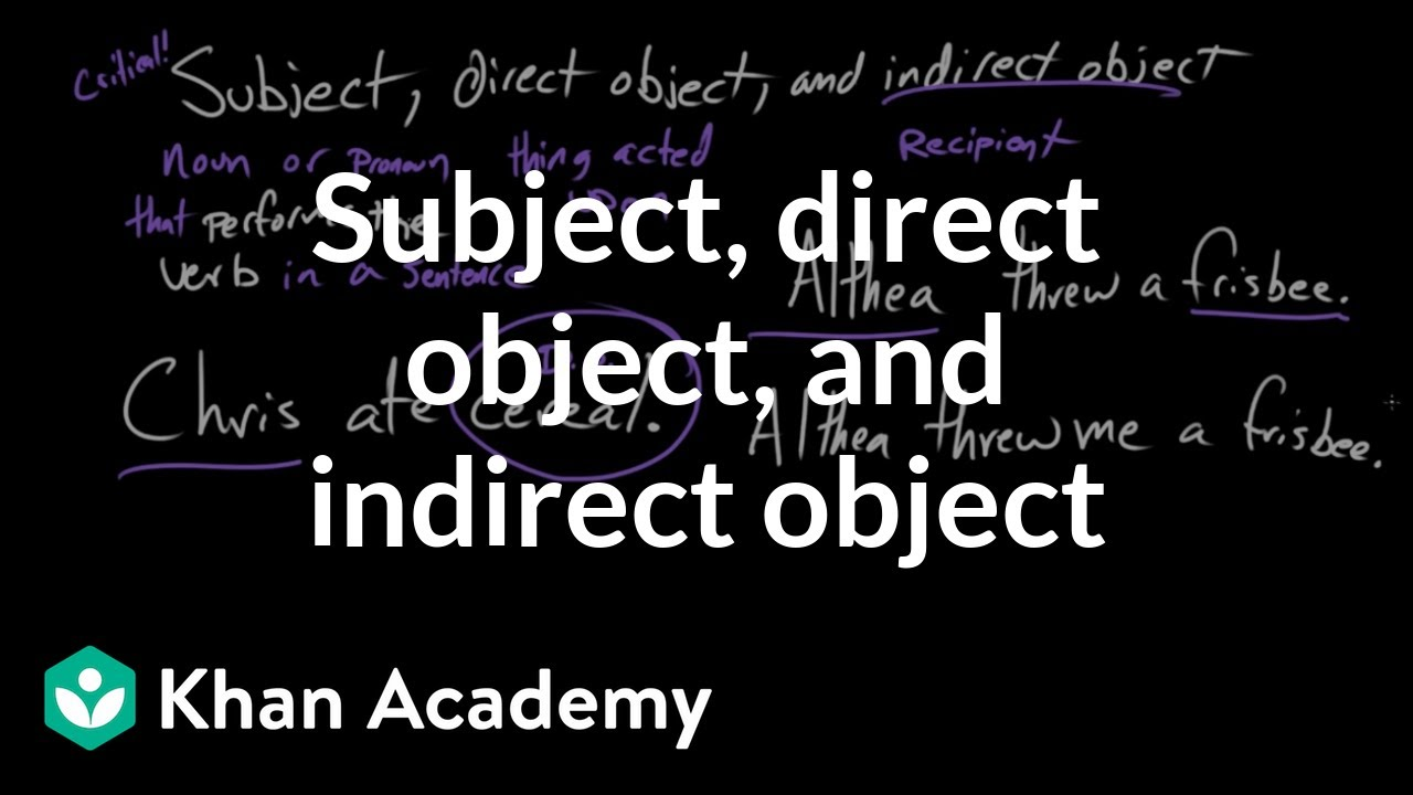 Subject, direct object, and indirect object (video) | Khan