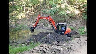 #864 Little Sketchy? EXCAVATOR IN POND, What could Go Wrong? Kubota KX-080 Sediment Removal
