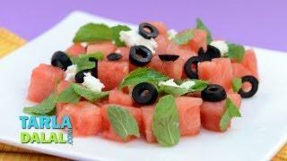 Watermelon And Feta Cheese Salad By Tarla Dalal