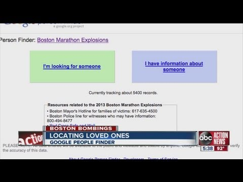 Google Person Finder and Red Cross Safe & Sound used to find