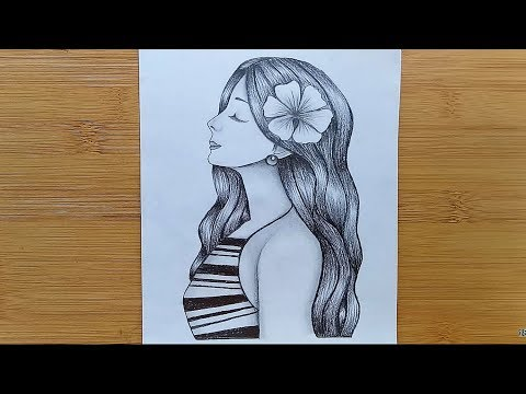 How to draw a Girl with pencil sketch step by step thumbnail