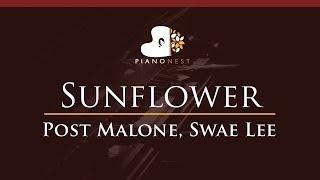Post Malone, Swae Lee - Sunflower - HIGHER Key (Piano Karaoke / Sing Along) Video