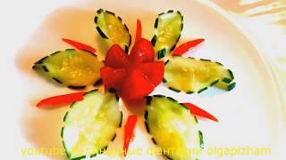 Оригинальный карвинг огурца - Цветок и листья & Украшения из овощей - Украшения блюд и салатов