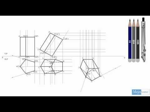 projection of solids - pentagonal prism