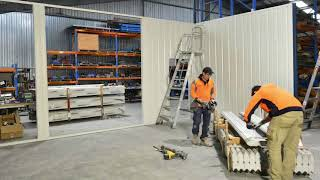 Speedpanel factory partition wall installation time-lapse