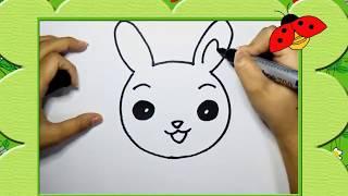 Bé tập vẽ con thỏ