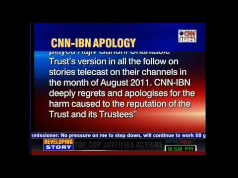 CNN-IBN Tenders Apology to Rajiv Gandhi Trust
