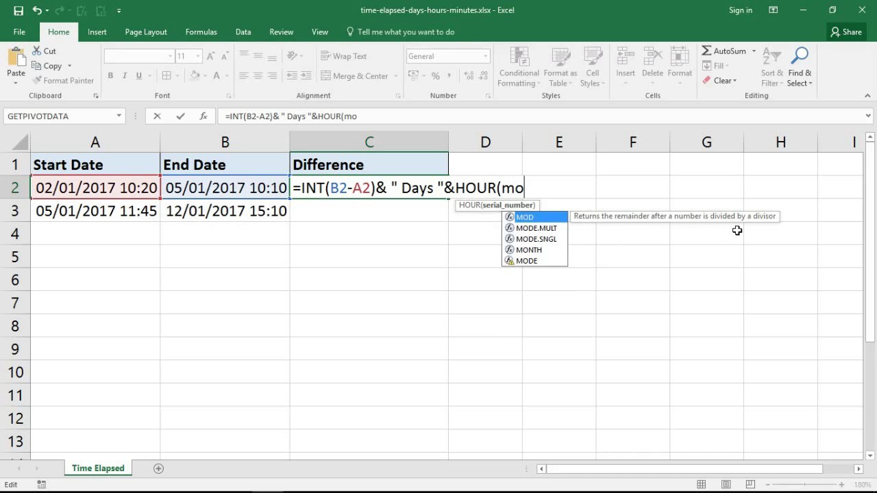 worksheet Days Elapsed excel formula for time elapsed in days hours and minutes youtube minutes
