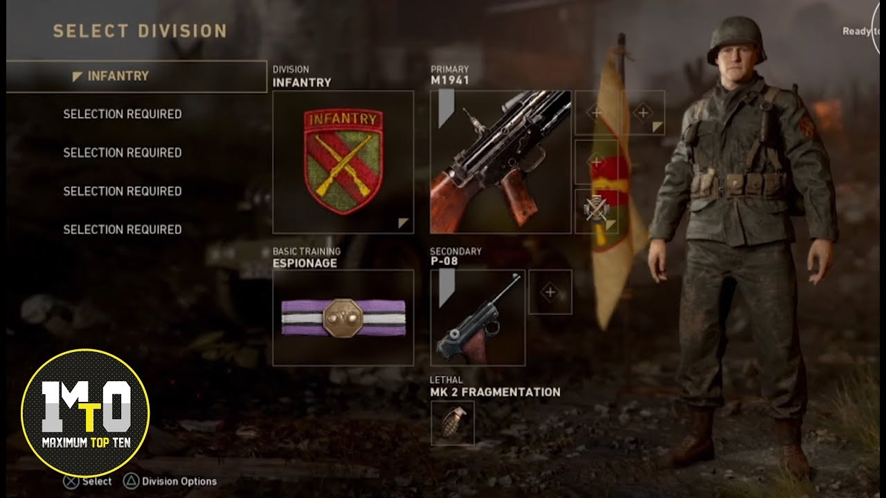 CALL OF DUTY WWII - LOCAL MULTIPLAYER CREATE A CLASS MENU - ALL WEAPONS -  DIVISIONS - BADGES