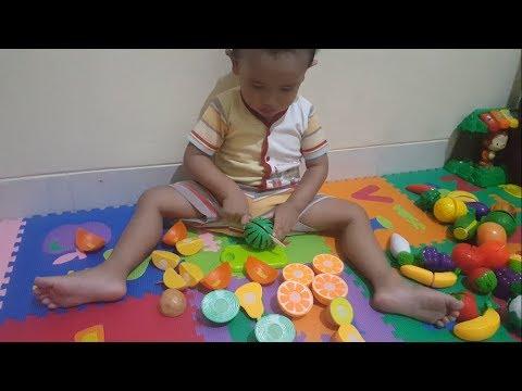 Mainan Potong Buah dan Sayuran | Learn Fruit Names with Cutting Fruit Playset for Children