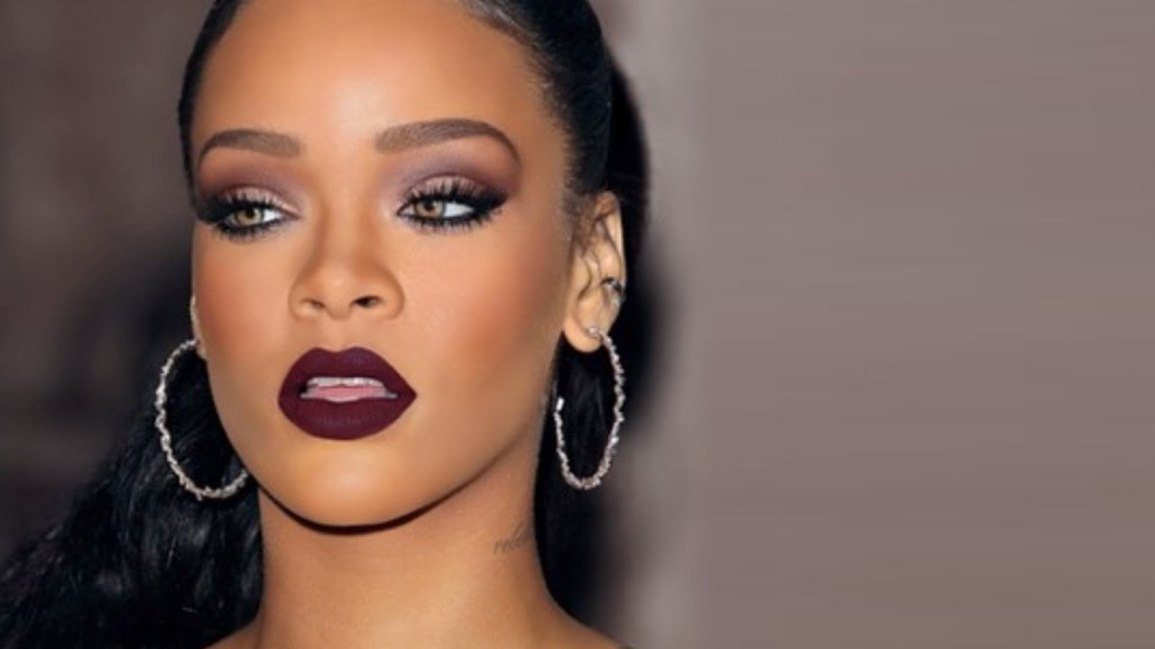 Sexy Amp Vampy Rihanna Makeup Black Cherry Lips Amp Burgundy