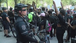 Protesters gather at Tampa Police Department in response to George Floyd's death
