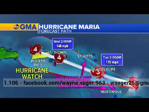 Puerto Rico braces for hit by Hurricane Maria | Monday, 18 September 2017
