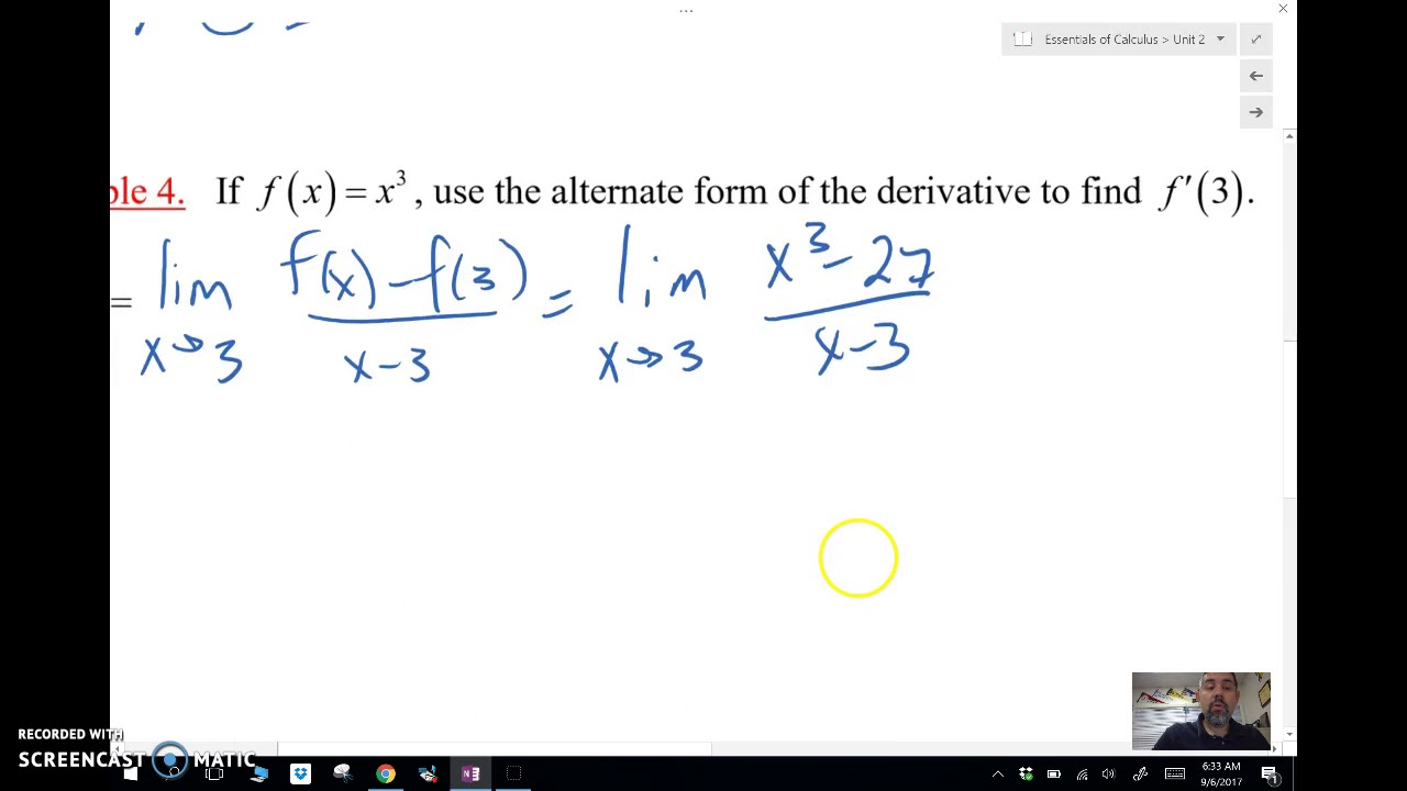 Calc AB 2-4: Alternate Form of the Limit Def of Derivative - YouTube