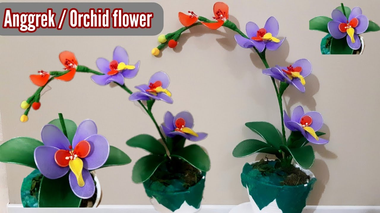 Kerajinan Bunga Anggrek The Purple Stocking Orchid Flower Tutorial Youtube