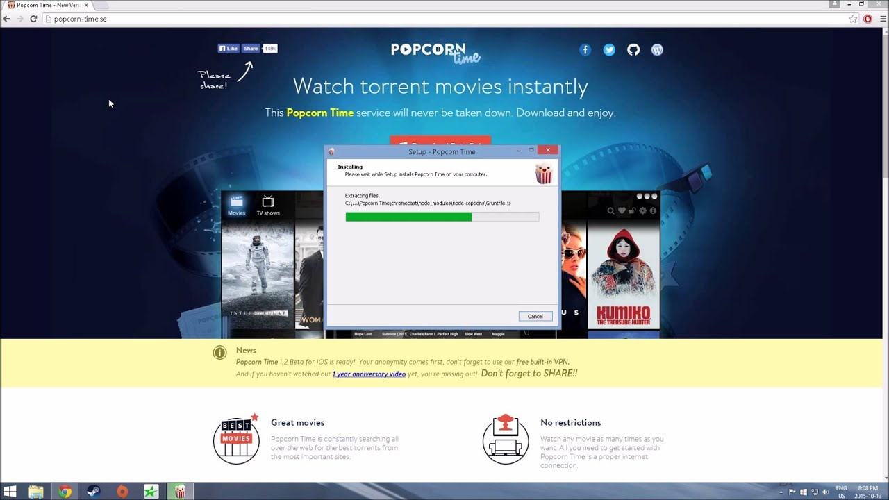 how to download popcorn time
