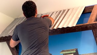 DIY CORRUGATED METAL AWNING | DIY WALL IDEAS | INDOOR CORRUGATED METAL ROOFING INSTALLATION DIY