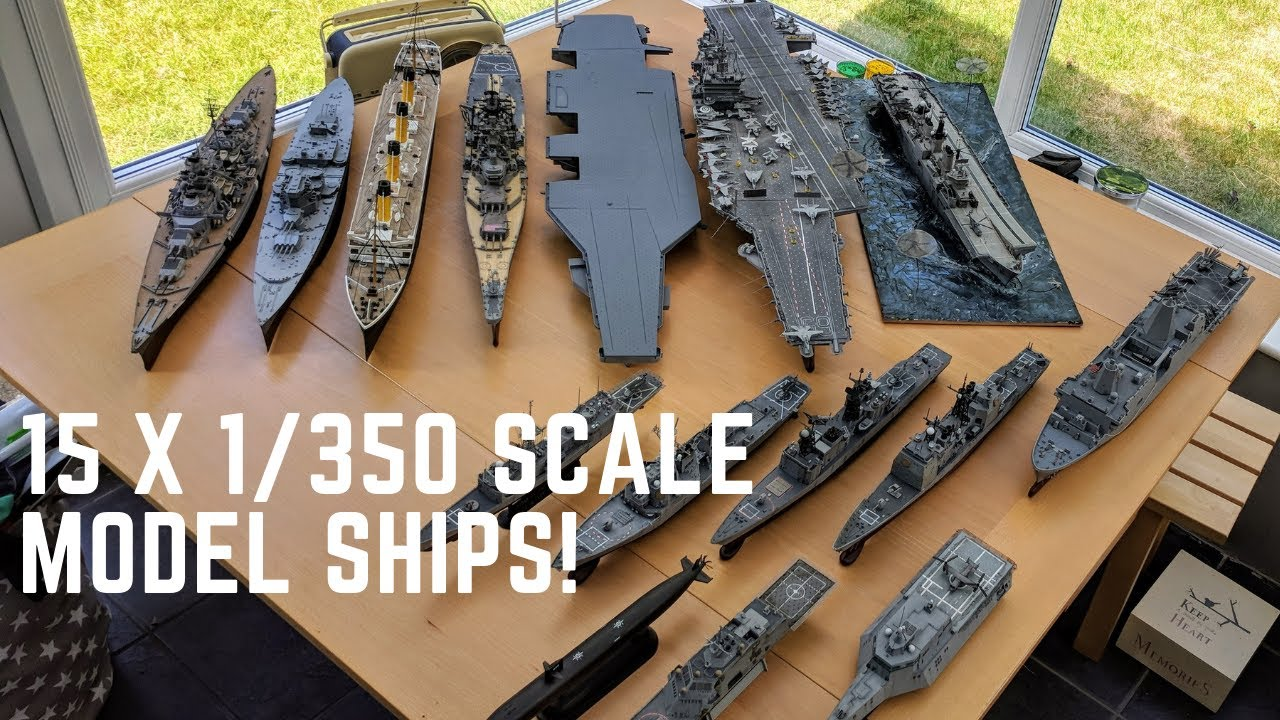 Huge 1/350 Scale Model Ship Fleet - 15 Ships!